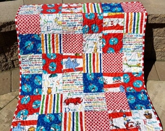 Dr. Seuss Quilt, Baby Quilt, Gender neutral Quilt, Cat in the Hat, Horton, Thing One and Two, Nusery, Classic yet Modern