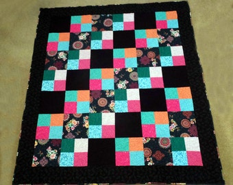 New,  Handmade, multi-color Colorful 100% cotton, patchwork lap quilt,