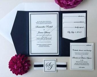 Wedding Invitation, Black and White Wedding Invitation, Pocket Wedding Invitation, Monogram Wedding Invitation, Wedding Invitation Set