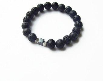 Black lava beaded bracelet, Hematite cube bracelet, Mens womens gemstone stretch bracelet, Minimal elegant  versace sign bracelet
