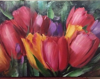 Red Tulips (original oil on canvas painting)