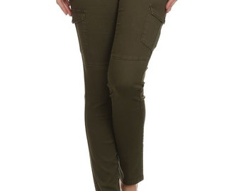 Enjean Women's Slim-Fit Casual Cargo Pants w/ Side Flap Pockets (Olive)