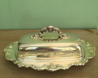 Vintage Gorham Silverplate covered butter dish Chantilly pattern Downton Abby chic bridal decor