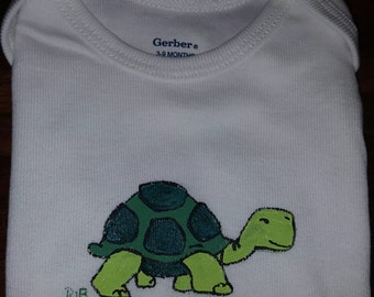 Hand Painted Turtle Baby Onsie, 3-9 months