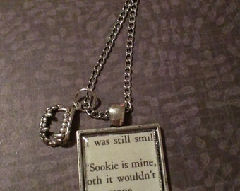 True Blood Sookie is Mine Book Page Necklace