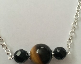 Tigers eye and black onyx necklace