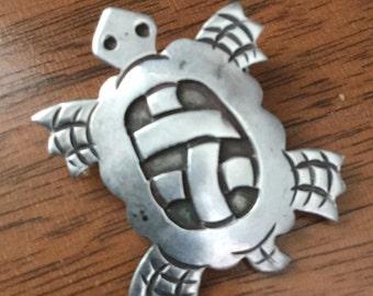 Turtle Pin, Sterling Silver, Brooch, Vintage