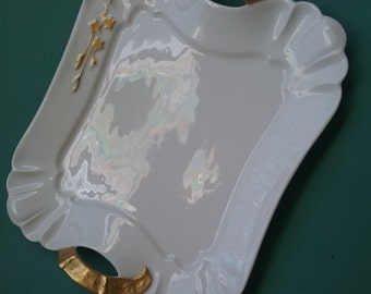 Haviland Limoges Tray, white with gold trim, 9x7.5