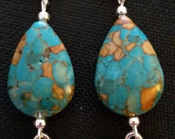 Copper turquoise on sterling silver lever back findings with Tibetan silver kitty