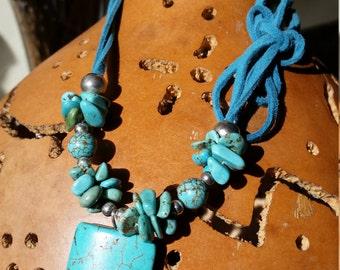 Sale! 5 dollars off! Handmade turquoise necklace Boho Southwestern Artisan