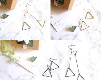 Jewelry earrings minimalist, geometric, fun, gold/black asymmetry, triangle earring
