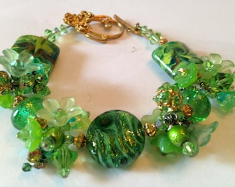 Verdant Garden- handmade lampwork bracelet