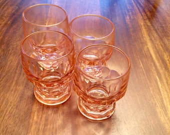 Vintage Pink Shot Glasses ~ Cordial Glasses ~ Juice Glasses