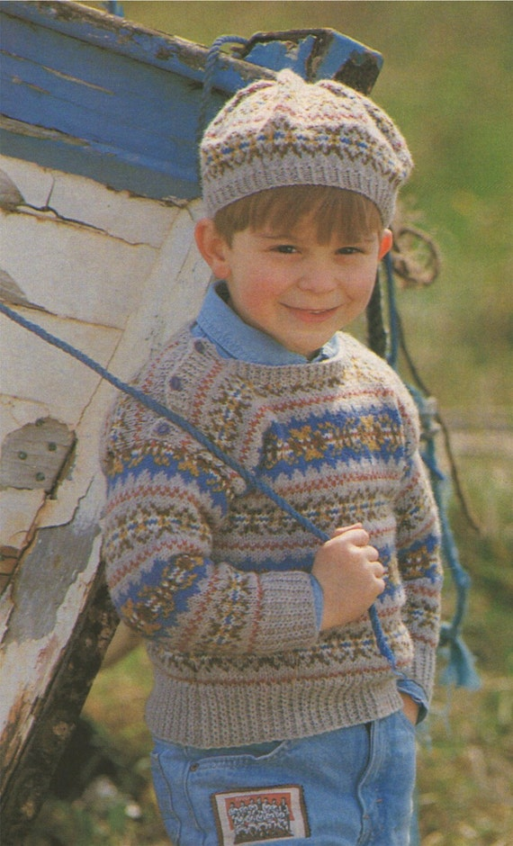 Childrens Fair Isle Sweater and Beret Knitting Pattern ...