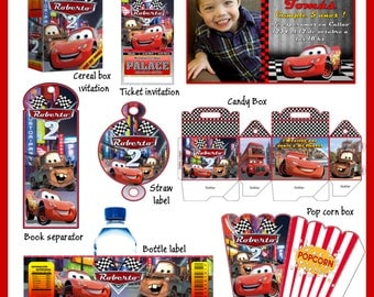 Cars Party Package, DIY, Printable Party Kit, Invitations, Banner, Favour Box, Labels, Wrappers, Candy Box, Instant Download !