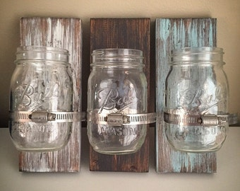 Custom Ball Mason Jar Holders - Wooden Glass Jar Clamp Signs - Wood Jar Bathroom Toothbrush Holders - DIY Mason Jar Storage - Wall Jar Plank