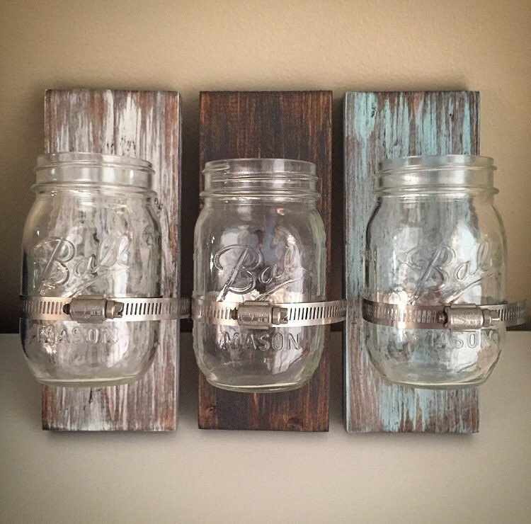 handcrafted distressed diy wood ball mason jar holder plank