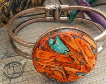 Copper Tumblestone Hinged Bracelet