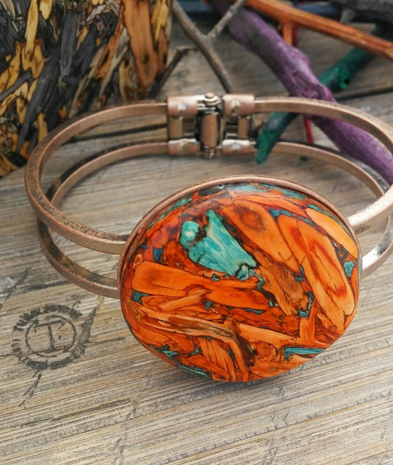 Copper Tumblestone Hinged Bracelet