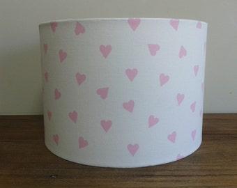 Handmade Lampshade Clarke and Clarke Pink Hearts