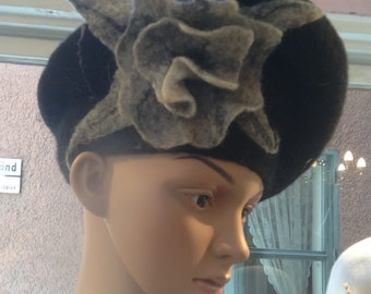 Black hat hand Felted hat with flower