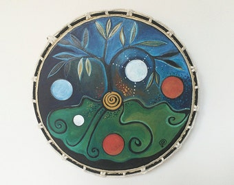 Tree of life. Shamanic Drum.