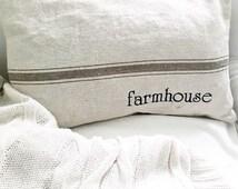 "12"" x 18"" Grain Sack Throw Pillow Cover in Tan"