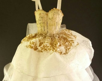 Dress Paper Dress  Lacedress Paper Lace GOLD Handmade Decoration Gift Present Girl Woman Fashion