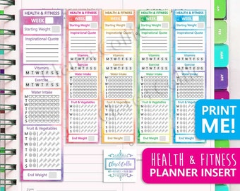 Health & Fitness Planner Sidebar for Erin Condren + Happy Planner Diary/Organizer - Printable Stickers To Keep Track of Your Healthy Habits