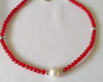 Ana's Red Coral&Pearl Bracelet