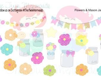 Flowers & Mason Jars Planner Stickers