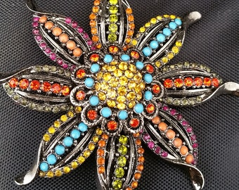 Colorful Flower sliver-tone Brooch, Coat pin, vintage jewelry