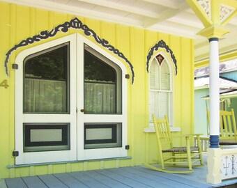Rocking Chair, Porch With Yellow Rocker, Gingerbread House, Detailed Door Window, Cape Cod, Marthas Vineyard, Oak Bluffs, Island Print