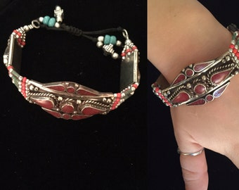 Chunky Red Coral 925 Silver Nepal Tribal Adjustable Braclet