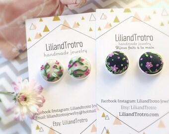 Floral stud, dangle earrings, polymer clay, embroidery earrings, boho,