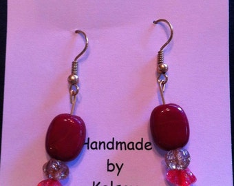 Glass Bead Earrings (Burgundy)