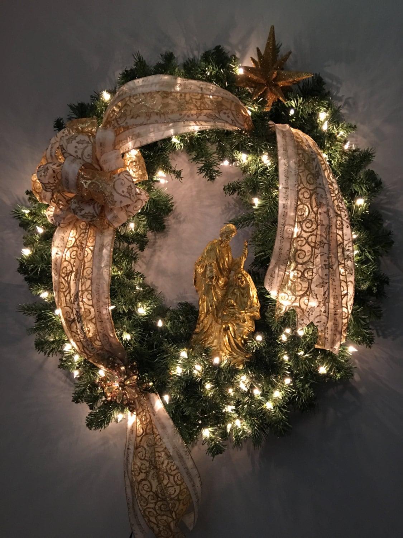 Xtra Large Christmas Wreath Nativity Wreath Lighted