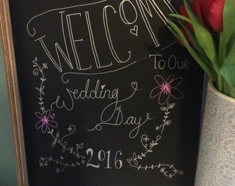 Personalised wedding chalkboard sign - welcome to our wedding day blackboard decoration