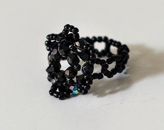 Black beaded ring