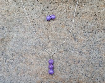 Polymer Clay Lavender Marbled Necklace Set