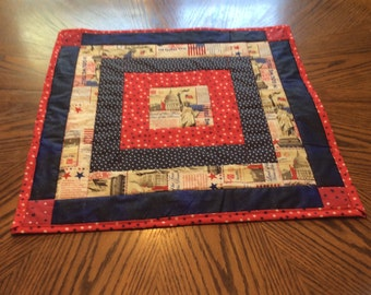 Red,white, and blue square table runner