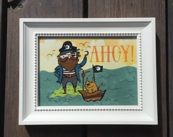Ahoy! Cute Pirate 5x7 Art Print
