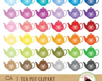 Tea pot Clipart - Instant Download