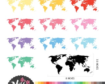 28 Colors World Map Clipart - Instant Download