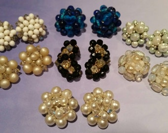 Cluster Clip Earring Vintage Lot 7 Pair