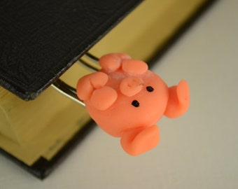 Polymer Clay PINK PIGGY Bookmark Paperclip