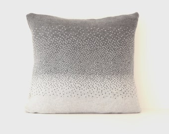 Handmade two-tone grey 100% Merino wool ombre fade-out knitted square cushion