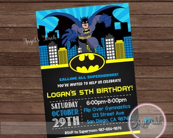 Batman Party Invitation, Batman Birthday Invitation, Batman Birthday Party Invitation, Batman Chalkboard Invitation, Digital File.