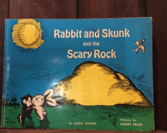 Vintage Children's Book Rabbit and Skunk and the Scary Rock 1965 by Carla Stevens