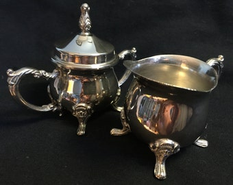 Vintage Silver Plated Sugar Bowl and Creamer Set